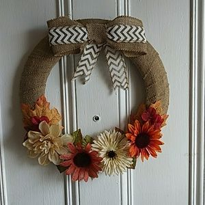 "Simple Fall Harvest Wreath 15"" circumference"
